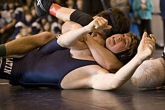 An example of a cradle, done by a high school wrestler on his opponent in collegiate (or scholastic) wrestling.