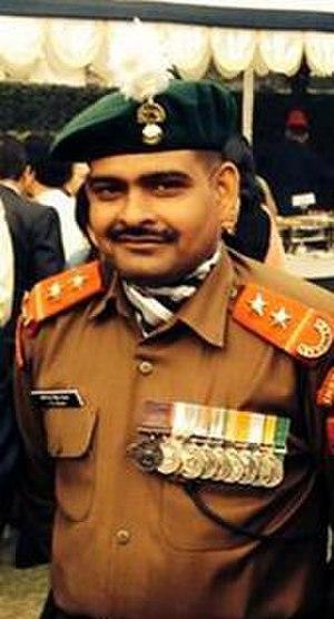 Yogendra Singh Yadav - Subedar Yadav, wearing his PVC Medal.