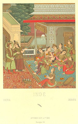 Yusuf and Zulaikha - A miniature Mughal painting depicting the tale of Yusuf and Zulaikha
