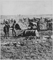 """Gen. Crook's headquarters in the field at Whitewood (Dak. Terr.). On starvation march 1876."" Closeup of a camp scene sh - NARA - 533170.tif"