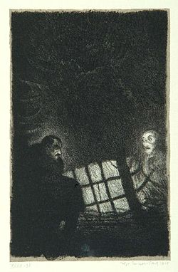 """Night ghost"", page 13 from the book ""Der Golem"", illustrated by Hugo Steiner-Prag"