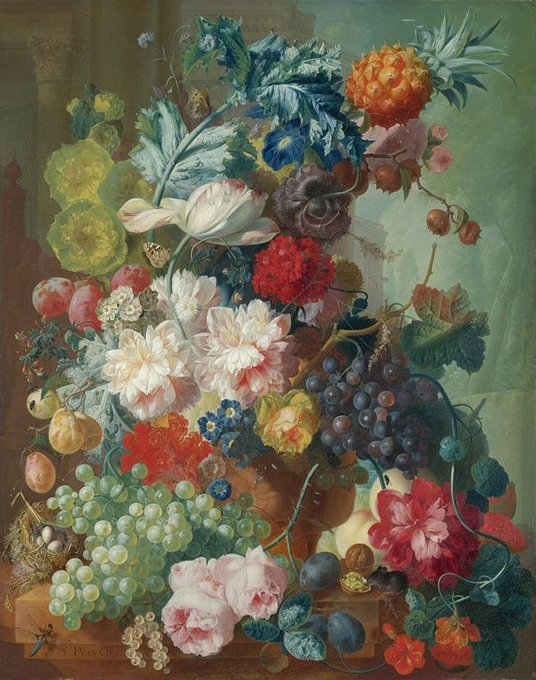Filefruit And Flowers In A Terracotta Vase By Jan Van Os 1777 8