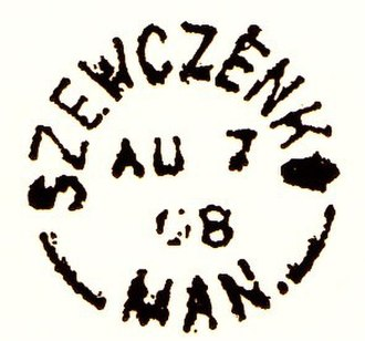 "Vita, Manitoba - Postmark from the original ""Szewczenko"" post office dated 1908; the office was renamed ""Vita"" in 1910."