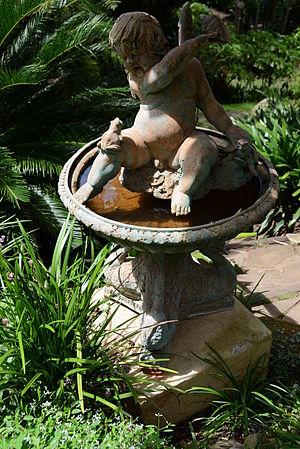 Margaret Olley - Antique fountain originally in Margaret Olley's Paddington garden, now part of Wendy Whiteley's garden at Lavender Bay