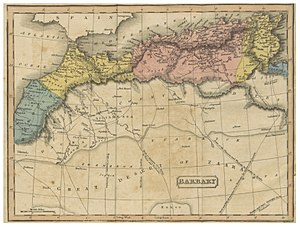 Карта района Средиземного моря, изображающая страны, которые его окружают