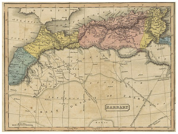 Barbary States were located in the southern area of the Mediterranean, shown here on an 1817 map. (1817) MAP OF THE BARBARY STATE.jpg