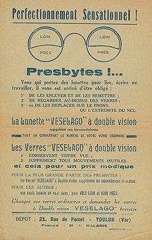 8c4b595780 Publicité pour les lunettes bifocales Veselago.