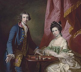 Portrait of William Earle Welby, of Denton, Lincolnshire and his first wife, Penelope, playing chess, before a draped curtain