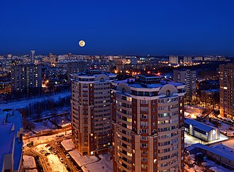 Korolyov, Moscow Oblast - Springtime evening panoram to central part of the city.