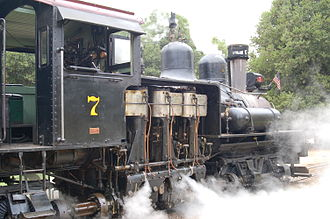 Running Springs, California - An example of a Shay logging locomotive.  The gearing arrangement gives it greater pulling capacity (but slower speed), which is advantageous with heavy loads on steep grades typical of western logging railroads.  This one is still in use on the Roaring Camp and Big Trees Narrow Gauge Railroad in Felton, California