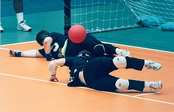 Goalballer Sarah Kennedy (Qld) makes a save for Australia at the 1996 Atlanta Paralympic Games
