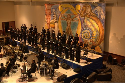 Chorus of the Symphonic Orchestra and Chorus of the Mexican Navy performing at the Monterrey Institute of Technology and Higher Education, Mexico City 03262012Sinfonica coro armada nal197.jpg