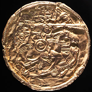 Sutton Hoo helmet - The Pliezhausen bracteate shows a scene nearly identical to design 2.