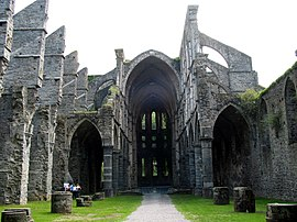 Villers-la-Ville (Belgium), nave, aisle and choir of the abbey church ruins (XIIIth century).