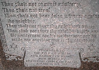 Separation of church and state in the United States - Ten commandments monument at a Minnesota courthouse.