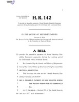 116th United States Congress H. R. 0000142 (1st session) - Social Security Disability Fairness Act of 2019.pdf