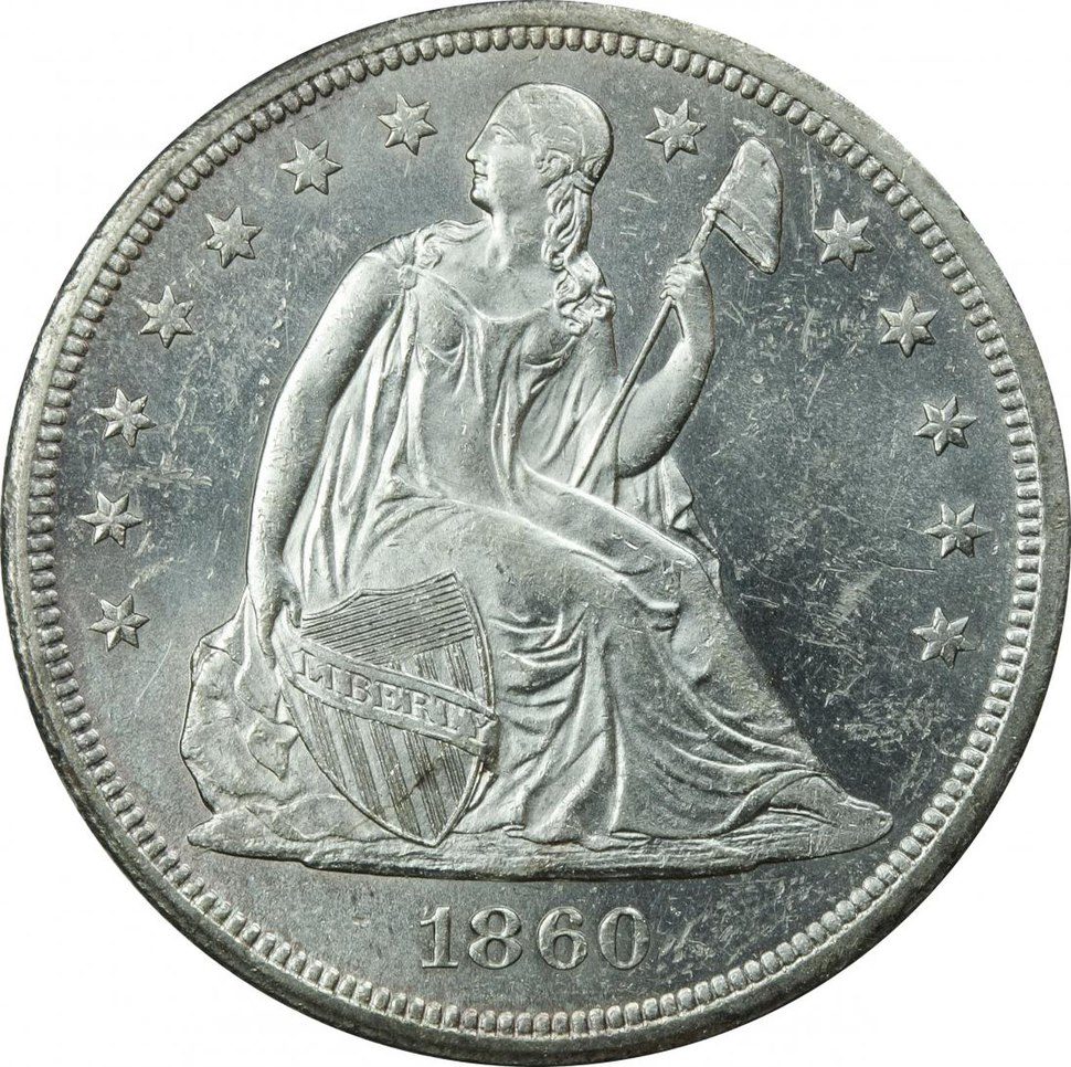 1860-O Seated Liberty dollar obverse