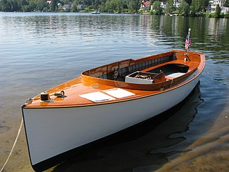Launch (boat) - 1910 Mathis launch, 15 horsepower universal engine, at Saranac Lake, New York