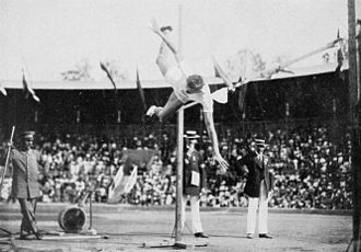 Athletics at the 1912 Summer Olympics – Men's high jump - And the bronze medalist George Horine in action.