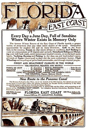 "Florida East Coast Railway - A 1913 print advertisement extols the many advantages of traveling on the Florida East Coast Railway, the ""New Route to the Panama Canal."""