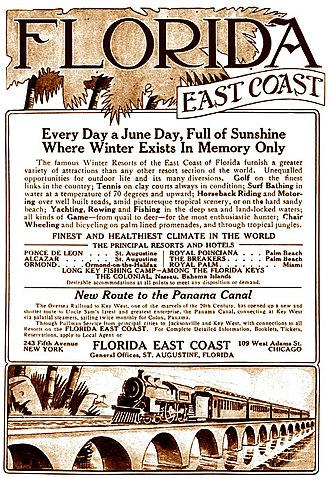 "Florida East Coast Railway - A 1913 print advertisement extols the many advantages of traveling on the Florida East Coast Railway, the ""New Route to the Panama Canal""."