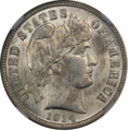 1914 Barber Dime NGC MS64plus Obverse.png