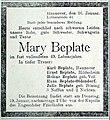 1915-01-16 Annonce für die verstorbene Mary Beplate, Lutherstraße 44, Hannover.jpg