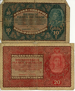 Polish marka - 10 and 20 Marks from 1919