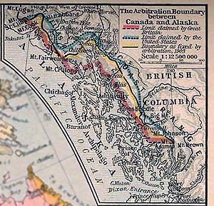 Parallel 54°40′ north - Map of boundary between Alaska and Canada. Final boundary from 1903 marked yellow.
