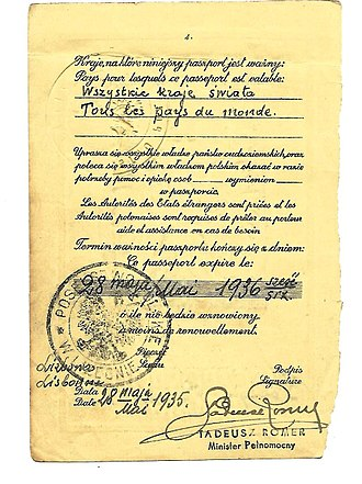 Tadeusz Romer - A page taken from a 1935 Polish passport issued to the wife of a diplomat posted to Lisbon. The page is signed by the ambassador to Portugal Tadeus Romer.