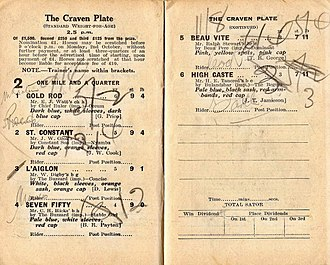 High Caste - 1939 AJC Craven Plate racebook showing the winner, High Caste.