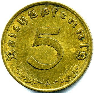 5 Reichspfennig (World War II German coin) - prewar version for comparison
