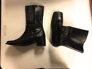 Go-go boot - Pair of black go-go boots, mid-1990s.