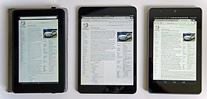 Nexus 7 (2012) - Competing devices Kindle Fire (left) and iPad Mini (center), compared to a Nexus 7 (right)