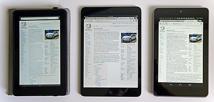 Comparison of several mini tablet computers: Amazon Kindle Fire (left), iPad Mini (center), and Google Nexus 7 (right) 1st gen Comparison iPad Mini & Google Nexus 7 & Kindle Fire Wikipedia screen 03 2013 6262.jpg
