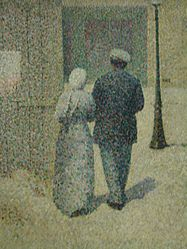 Charles Angrand: Man and woman in the street
