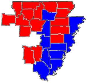 United States House of Representatives elections in Arkansas, 2010 - Crawford counties in red, Causey counties in blue.