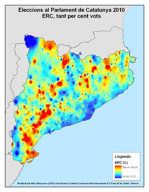 Distribución del apoyo a ERC en las elecciones catalanas de 2010. En rojo, máximo apoyo y en azul, mínimo apoyo.