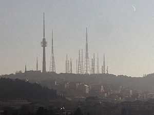 Çamlıca TRT Television Tower - Çamlıca TRT Television Tower (concrete structure on the left half) with steel communications masts around on Çamlıca Hill.