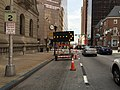 2016-07-27 09 13 07 View south along Maryland State Route 2 (Saint Paul Street) between Lexington Street and Fayette Street in Baltimore City, Maryland.jpg