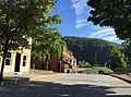 "2016-09-27 09 40 20 View ""south"" (actually east) along U.S. Route 340 Alternate (Shenandoah Street) at High Street in Harpers Ferry, Jefferson County, West Virginia.jpg"
