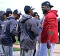 2016-10-10 Rajai Davis and David Ortiz before game 02.jpg