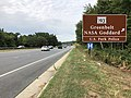 2019-09-09 10 25 44 View south along Maryland State Route 295 (Baltimore-Washington Parkway) at the exit for Maryland State Route 193 (Greenbelt, NASA Goddard, U.S. Park Police) in Greenbelt, Prince George's County, Maryland.jpg
