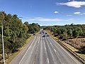 2019-10-10 14 14 38 View east along the westbound lanes of Maryland State Route 32 (Patuxent Freeway) from the overpass for Shaker Drive in Columbia, Howard County, Maryland.jpg