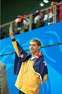 221000 - Swimming 200m medley SM8 Ben Austin silver waves - 3b - 2000 Sydney event photo.jpg