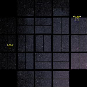 GSC 03549-02811 - An image from Kepler with TrES-2b and another point of interest outlined. Celestial north is towards the lower left corner.