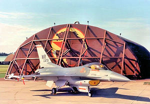 81st Training Wing - 527th AS F-16C Block 30A Fighting Falcon 85-1479 at RAF Bentwaters, England, 1988 upon squadron receipt of the aircraft. This was the first European based aggressor aircraft and it is shown parked in front of a Hardened Aircraft Shelter adorned with a Russian bear and star. The 527th AS was the only USAFE squadron in the UK to be assigned the F-16.