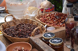 Chapulines - Chapulines and chili flavored peanuts at an artisanal food market in Colonia Roma, Mexico City