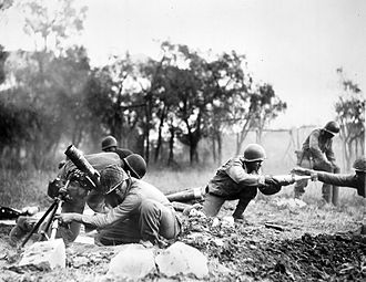 Battle of Garfagnana - Buffalo Soldiers of the 92nd Division provide mortar support during the fighting near Massa.