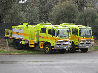 Fire engine red - ACT Fire and Rescue tankers in Chartreuse yellow
